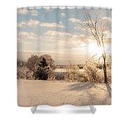 Winter Sunrise Panorama Shower Curtain