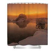 Winter Sunset And Fog Over Lake Myvatn Shower Curtain