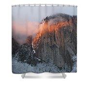 Winter Sunset On El Capitan Shower Curtain