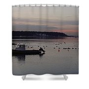 Winter Sunset On The Harbor Shower Curtain
