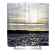 Winter Sunset Over Gardiner's Bay Shower Curtain by John Telfer
