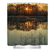 Winter Sunset Reflection Shower Curtain