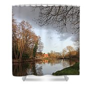 Winter Sunshine On The Wey Canal Surrey Uk Shower Curtain