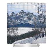 Winter Tetons Shower Curtain