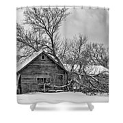 Winter Thoughts Monochrome Shower Curtain