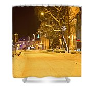 Winter Time Street Scene In Krizevci Shower Curtain