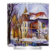 Winter Town - Palette Knife Oil Painting On Canvas By Leonid Afremov Shower Curtain