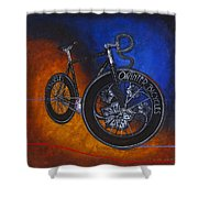 Winter Track Bicycle Shower Curtain