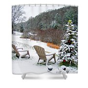 Winter Valley Chairs 2 Shower Curtain