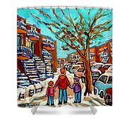 Winter Walk Montreal Paintings Snowy Day In Verdun Montreal Art Carole Spandau Shower Curtain