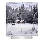 Forest Snow Blanketed Privies - Winter In Banff, Alberta Shower Curtain