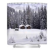 Forest Snow Blanketed Privies - Winter In Banff, Alberta Shower Curtain