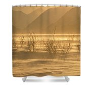 Winter Wind Storm W Blowing Snow Shower Curtain