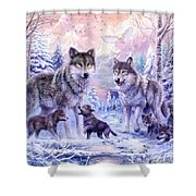 Winter Wolf Family  Shower Curtain