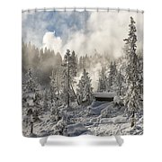 Winter Wonderland - Yellowstone National Park Shower Curtain