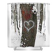Winter Woods Romance Shower Curtain
