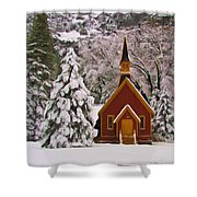 Winter Yosemite Chapel Shower Curtain