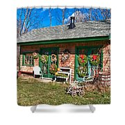 Winterberry Farm Stand Shower Curtain by Guy Whiteley