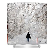 Winterly Forest With Snow Covered Trees Shower Curtain by Matthias Hauser
