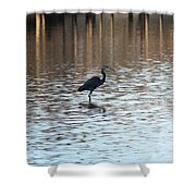 Winter's Blue Heron Shower Curtain