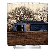 Winter's Cow Barn Shower Curtain