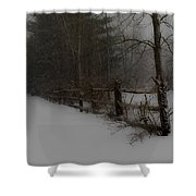 Winter's Fence Shower Curtain