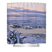 Winters River Shower Curtain