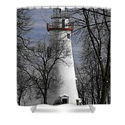 Wintry Lighthouse Shower Curtain