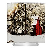 Wintry Red Barn Shower Curtain