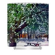 Wintry  Snowy Trees Shower Curtain
