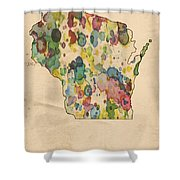 Wisconsin Map Vintage Watercolor Shower Curtain