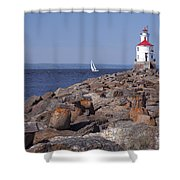 Wisconsin Point Lighthouse 1 K Shower Curtain