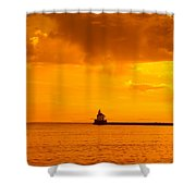 Wisconsin Point Lighthouse Sunrise 1 A Shower Curtain