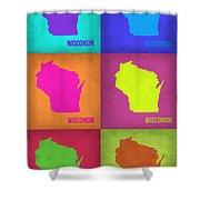 Wisconsin Pop Art Map 2 Shower Curtain