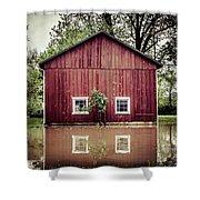 Wise Old Barn Flood Shower Curtain