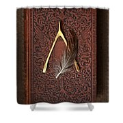 Wishbone And Feather On Antique Book Shower Curtain