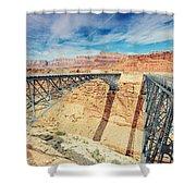 Wispy Clouds Over Navajo Bridge North Rim Grand Canyon Colorado River Shower Curtain
