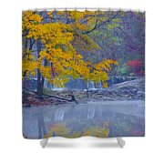 Wissahickon Morning In Autumn Shower Curtain