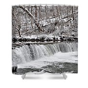 Wissahickon Waterfall In Winter Shower Curtain by Bill Cannon