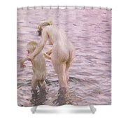 With Mother Shower Curtain by Anders Leonard Zorn