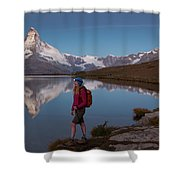 With The Matterhorn In The Background Shower Curtain