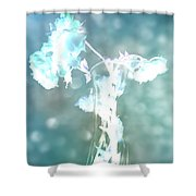 Withering Away - Aqua Sparkle Shower Curtain