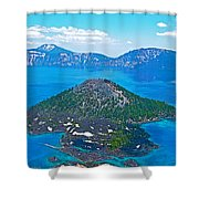 Wizard Island From Watchman Overlook In Crater Lake National Park-oregon  Shower Curtain