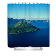 Wizard Island In Crater Lake, Oregon Shower Curtain