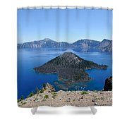 Wizard Island Crater Lake Oregon Usa Shower Curtain by John Kelly