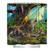 Wolf And Cubs In The Woods Shower Curtain