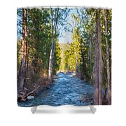 Wolf Creek Flowing Downstream  Shower Curtain