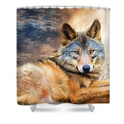 Wolf In Moonlight Shower Curtain