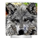 Wolf Line Art  Shower Curtain