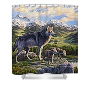 Wolf Painting - Passing It On Shower Curtain by Crista Forest